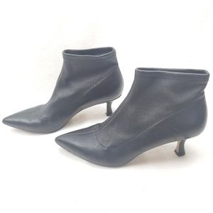 Something Navy Black Leather Sock Bootie